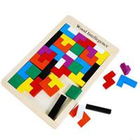 puzzle spiel holz großhandel-Neue Holz Intelligenz Holz Tangram Gehirn Tetris Spiel Puzzle Vorschulkinder Spielen Holz Spielzeug Ausbildung Lernspielzeug