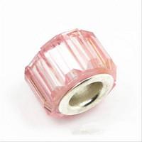 Wholesale Low Price Acrylic Rhinestones - 50PCS Lot Beautiful Light Pink Resin Rhinestone Charms Silver core European Big Hole Beads for Jewelry Making Low Price