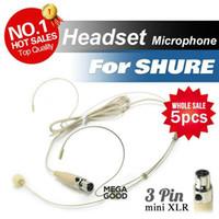 Wholesale Headset Xlr - microfono 5pcs Condenser Headset Microphone with Mini 3 Pin 3pin XLR TA3F plug for Shure Wireless Body-Pack Transmitter microfoonr mic