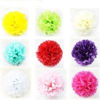 Wholesale Cheap Decorative Paper - 50pcs lot Colorful Pom Poms Flower Kissing Balls Hanging Balloon for Wedding Party Decoration Supplies Cheap