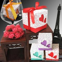 Wholesale pack sweets - Candy Box Laser Cut Love Heart Shape Square Sweet Case With Exquisite Ribbon Party Gift Packing Wedding Candies Bag 0 25xc F R
