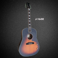 Wholesale Acoustic Dreadnought Guitar Rosewood - OEM handmade John lennon 160E acoustic electric guitar,Spruce solid top,free shipping