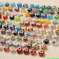 Wholesale Stamp Pendant Silver - 925 Sterling Silver Charm Glass Beads Pendants Murano Hole Beads for Pandora Necklace Bracelet Jewelry DIY Accessories with Stamp DHL Free