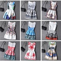 Wholesale Womens Summer Vest - Dresses new fashion womens short dress summer boho sleeveless vest dress digital floral print vintage dress plus size casual dress for woman