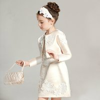 Wholesale Two Piece Coat Dress Girls - 2016 High-grade Two-piece Children Princess Dress Long Sleeved Flower Girl Dresses for Wedding Birthday Party Dress Coat+dress