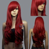 Wholesale Wavy 33 Inch Wig - 100% Hot Sell Brazil dark-haired woman wig cosplay Heat Resistant synthetic>>>>>HOT! Dark Red wavy Long Cosplay Wig - 33 inch High Tem