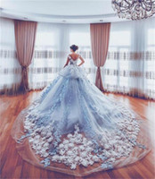 Wholesale Strap Sweetheart High Low Dress - Luxury Wedding Dresses For Bride Cathedral Train 3D Appliques Peplum Organza Princess Bridal Dress Sexy low Back High Quality Wedding Gowns