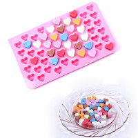 Wholesale Heart Shaped Ice Cube Trays - 200pcs Silicone chocolate ice mold love the shape of 55 even heart shaped silicone cake cube frozen tools silicone cube popsicle tray ZA0577