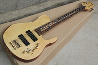 Wholesale guitar neck inlays online - Custom Dragonfly Fodera Strings Natural Electric Bass Guitar Neck Thru Body Maple Abalone Bamboo Shape Fingerboard Inlay Gold Harwdare