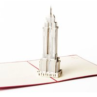 Wholesale Empire State Building 3d - Living Cube 3D stereoscopic greeting cards USA Empire State Building creative American souvenir card Handmade hot