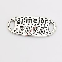 Wholesale papa jewelry - 10pcs Antique Silver Plated Vintage el mejor papa Connectors Pendants for Jewelry Making DIY Handmade Craft 30x13mm