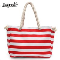 Wholesale Striped Tote Bags - Wholesale-Summer Rope Handle Beach Bags Stripe Handbag Lady Shoulder Large Capacity Canvas Shopping Bag Striped Sailor Style Casual Totes