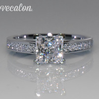 Wholesale 1ct Diamond Silver Ring - Vecalon Simple Jewelry ring Princess cut 1ct Simulated diamond Cz 925 Sterling Silver Engagement wedding Band ring for women