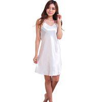 Wholesale Wholesale Women S Silk Clothing - Wholesale-Fashion Women Clothes Night Deep V Silk Nightgowns Sleepwear Sleepshirts Robes Y001