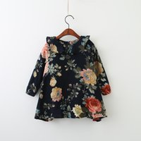 Wholesale New Arrivals Children Winter Clothing - Everweekend Children Kids Autumn Print Flowers Ruffles Dress Sweet Baby Ruffles Floral Dress Clothing Clothes New Arrival