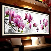 Wholesale Oil Picture Flower - DIY Diamond Embroidery 5D Painting Rhinestones Magnolia Flower Cross Stitch Kits Embroidery With Diamonds Diamond Mosaic Picture 105*35cm