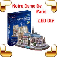 Wholesale Diy Notre Dame - New Arrival Gift Notre Dame De Paris 3D Puzzles Model Building Construction LED Display Toys Education DIY Puzzle Assemble Toy