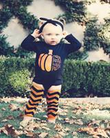 ingrosso calzini di tuta-Baby Halloween Pagliaccetti cartoon zucca stampa Tute Top manica lunga + fascia + 2 Leggings calzini 4 pz / set bambini Arrampicata vestiti C1256