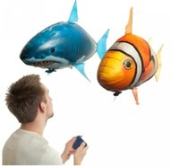 Wholesale Electric Air Balloon - Air Swimmers Flying Shark Clown Fish Remote Control Fly Clownfish blimp floating Sharks Toys Inflatable helium Balloons RC Air Swimmer Toys