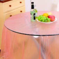 Wholesale Plastic Tablecover - 8 Pcs Roll NEW transparent Plastic Disposable Tablecloth Tablecover Party Outdoor Picnic Check Oil Cloth Yardage Tablecloth One-time
