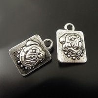 Wholesale Antique Bulldog - 10PCS Lot Antique Silver Bulldog Alloy Pendant Charm Jewelry Finding 12*10*5mm AU36131 jewelry making