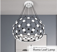 Wholesale Modern Lamp Posts - DHL Free ship Roma Leaf Post-modern chandeliers Lights Nordic creative personality villa restaurant Chandelier fixture lamp home decor