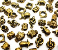 Wholesale Bronze Loose Beads - 100pcs mixed Antique Bronze Beads for Jewelry Making Loose Alloy Charms DIY Big Hole Beads for European Bracelet Wholesale in Bulk Low Price