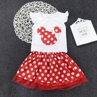 Wholesale Minnie Mouse Piece - Disney princess dresses girl minnie mouse top+shirt 2-piece clothing set lovely dot tutu lace dress kids girls miniskirt preppy cotton suit