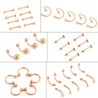 Wholesale 14k Gold Pierced Earrings - 50pcs gold Titanium Stainless Steel Eyebrow Nose Lip Captive Bead Ring Tongue Piercing Tragus Cartilage Earring Body Jewelry
