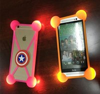 Barato Lâmpada De Choque Led-Universal Cartoon LED Lamp Bumper Case Iluminação Flicker Bumpers Soft Silicone Cases para iPhone 7 7 mais 6 6s mais Samsung s8 s8 plus s7 s6