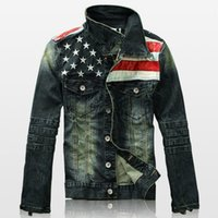 Wholesale Distressed Flag - Fall-Mens denim jacket men 2016 Distressed jacket denim Biker jeans jacket America flag print Washed stitching contrast color jacket