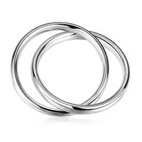 ingrosso disegno dei nuovi uomini dei monili-Bracciale in argento 2016 nuovo design argento placcato moda elegante liscio doppio cerchi croce braccialetto braccialetto 7cm diametro degli uomini gioielli regalo