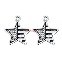 Wholesale Bracelet Star Handmade - Antique Silver Plated Star Flags Charms Pendant Bracelet Necklace Jewelry Accessories Making Handmade DIY 20mm