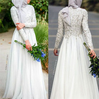 Wholesale Muslim Wedding Dresses Hijab - Modest Beaded Lace Applique Long Sleeve Muslim Country Style Wedding Dresses 2016 Fall High Neck Ivory Chiffon Arabic Bridal Gown with Hijab