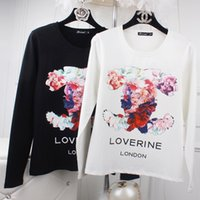 Wholesale Plus Size Upper Garments - 2016new hot plus-size women's fat mm autumn outfit Printing small air fragrance long sleeve T-shirt girl render unlined upper garment to co