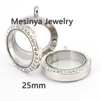 Wholesale Medium Locket - 20pcs magnet women's girls 316L stainless steel 25mm medium crystal glass locket pendant for floating charms love note