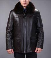 Wholesale China Men Clothes Free Shipping - Fall-Free shipping China Haining real leather clothes mens middle-aged Nick clothing fox fur collar sheep skin winter coats M-4XL