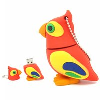 Novidade Design Parrot Bird Cartoon USB Flash Drive Memória barata USB Stick Rubber 8GB 2GB 4GB 1GB 16GB