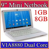 "Wholesale Android Laptop 1gb - 9 inch Mini laptop VIA8880 Netbook Android 4.2 laptops VIA8880 9"" Dual Core Cortex A9 1.5Ghz 1GB RAM 8GB ROM Netbook B-BJ"
