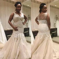 Wholesale Gold Chains Images - African Mermaid Lace Wedding Dresses 2018 V Neck Full Lace Appliques Plus Size Bridal Gowns With Beading Chains Tulle Wedding Gowns