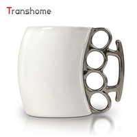 Wholesale China Porcelain Box - Wholesale- Transhome Creative Boxing Coffee Mug Ceramic With Brass Knuckle Novelty Personality Porcelain Creative Fist Mug For Gifts 300ML