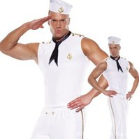 Wholesale Sexy Cosplay Anime - Wholesale-Brand New 2016 Halloween Party Mens Navy Sailors Costumes Fancy Clothes Adult Male Sexy Cosplay With Hats Ties White L XL J1140