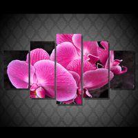 orquídeas lona óleo pintura conjuntos venda por atacado-5 pçs / set hd impresso rosa orquídea pintura cópia da lona decoração da sala de impressão imagem do cartaz da lona pintura a óleo tradicional