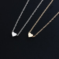 Wholesale acrylic bijoux online - Pendant Necklace Women Trendy Tiny Heart Short Pendant Necklace Women Gold Plated Chain Lover Lady Girl Gifts Bijoux Fashion Chain Necklaces