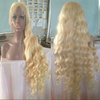 ingrosso parrucche di capelli umani biondi bianchi-613 parrucche bionde della parte anteriore del pizzo del pizzo per le parrucche piene del pizzo dei capelli del virgin dell'onda del corpo delle donne bianche con i capelli del bambino Linea sottile naturale