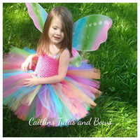2016 Cute Tutu Short Flower Girl's Dresses Été Rainbow Colorful Skirts robe de bal Mini Robes de fille à bas prix pour occation spéciale