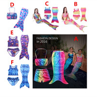 Wholesale Kids Swim Costumes - 2016 NEW 3PCS SET Girls Kids Mermaid Tail Swimmable Bikini Set Swimwear Swimsuit Swimming Costumes Free Shipping A-0355