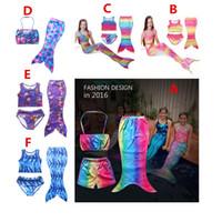 Wholesale New Mermaid Costumes - 2016 NEW 3PCS SET Girls Kids Mermaid Tail Swimmable Bikini Set Swimwear Swimsuit Swimming Costumes Free Shipping A-0355