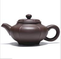 ingrosso teiere cinesi yixing-Teiera cinese Yixing classica, Teiera interamente fatta a mano, Teiera in argilla viola Kung Fu, Set da tè per la casa / ufficio, Bollitore per tè