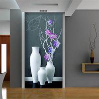 corredor parede papel de parede venda por atacado-Vaso de flores Corredor Muro de Parede Foto Papel De Parede Entrada Papel De Parede 3d Papel De Parede Floral Home Art Decor 3d Coffee Shop Papel De Parede